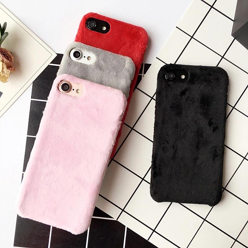 Chaud D'hiver De Fourrure cheveux Pelucheux Case Couverture Pour iPhone 6 6 S Plus doux Velours Téléphone Shell Pour iPhone 6 Plus Coque Femmes Dame ...