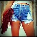 2016 mujeres atractivas de la muchacha del verano de cintura alta Ripped agujero azul Denim Jeans Shorts WholesalePants