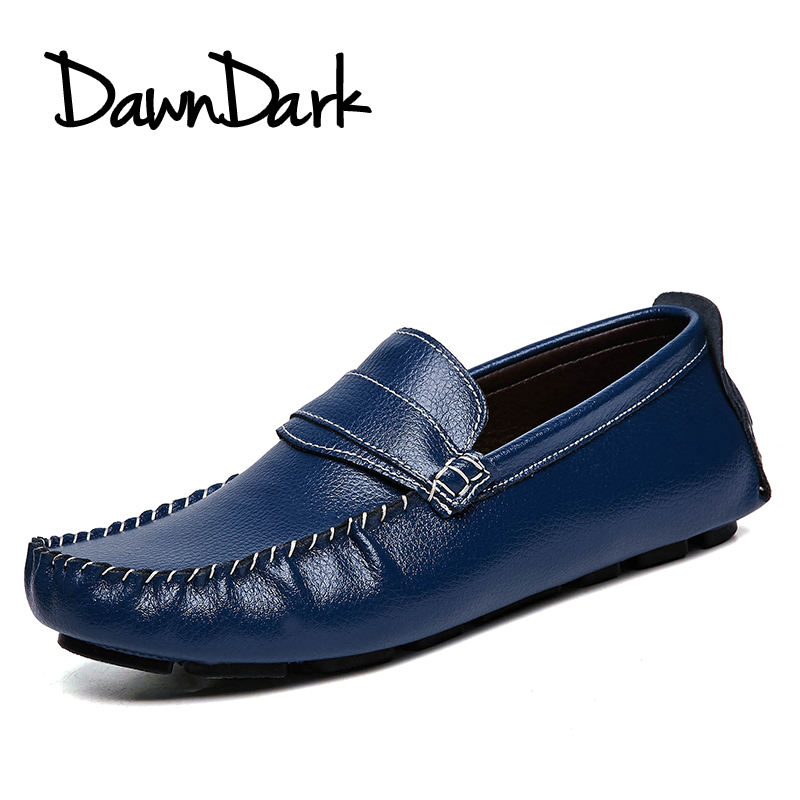 Men Casual Leather Shoes Slip on Male Genuine Leather Driving Shoes Black Brown Mens Fashion Moccasins Business Loafers