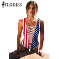 2017 New Summer Swims Suits for Women American Flag Print Lace Up Bandage Swimsuit Sexy Deep V-Neck Bathing Suit Maillot De Bain