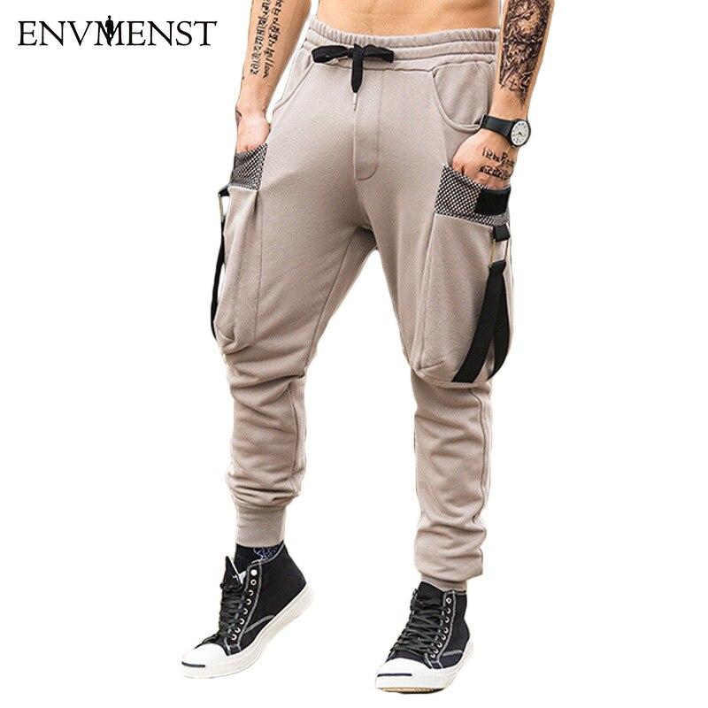 2018 Brand New Uomini di Modo tasca Dei Pantaloni Figura Intera Uomini HIPHOP pantaloni pantaloni Sportivi Casual da uomo Pantaloni Degli Uomini della cinghia streetwear