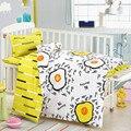 3 pçs/set conjunto fundamento Do Bebê cama berço forros incluído fronha folha plana capa de edredão Floresta Animal padrão de design para o bebê kid