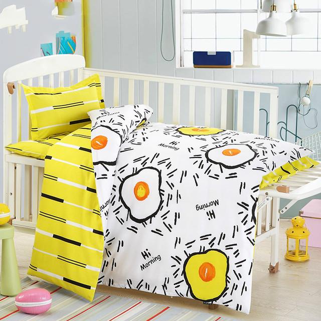 3 unids/set Bebé juego de cama cuna cama revestimientos incluido funda de almohada hoja plana funda nórdica Bosque Animal patrón de diseño para el bebé kid
