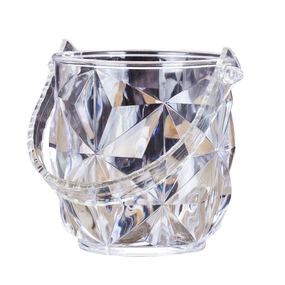 1pc Ice Bucket Portable Round Acrylic Transparent Ice Container Wine Set With Ice Tong For Restaurant Cafe KTV Bar Accessories