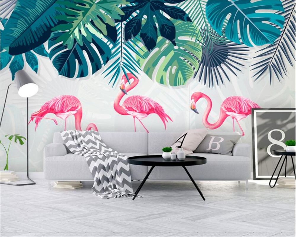 beibehang Custom wallpaper murals modern Nordic hand painted palm leaves flamingo wall A variety of high quality 3d wallpaper