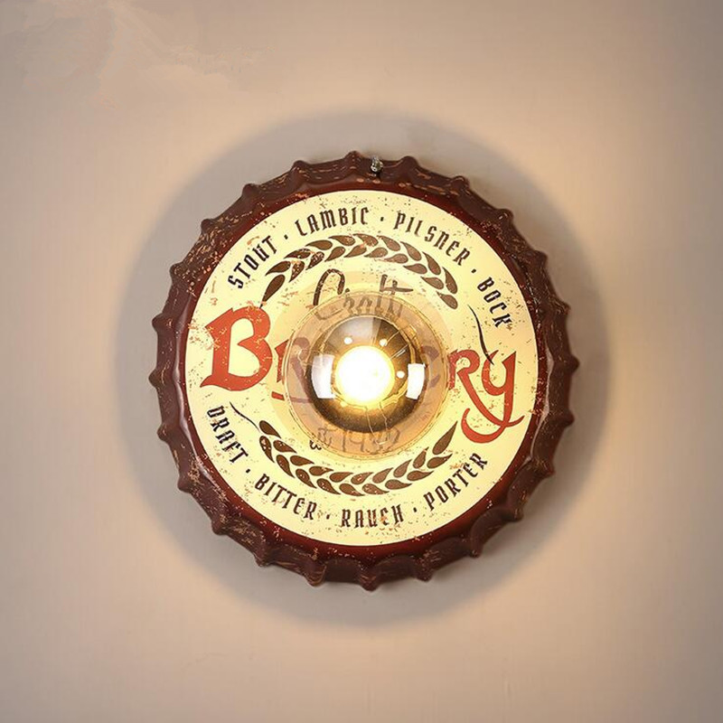 2017 New Sale Loft Industrial Retro Iron For Bar Aisle Restaurant Stairs Wall Lamp Personality Wine Bottle Cap Decor LED Lights smad 28 bottle wine chiller cellar bar