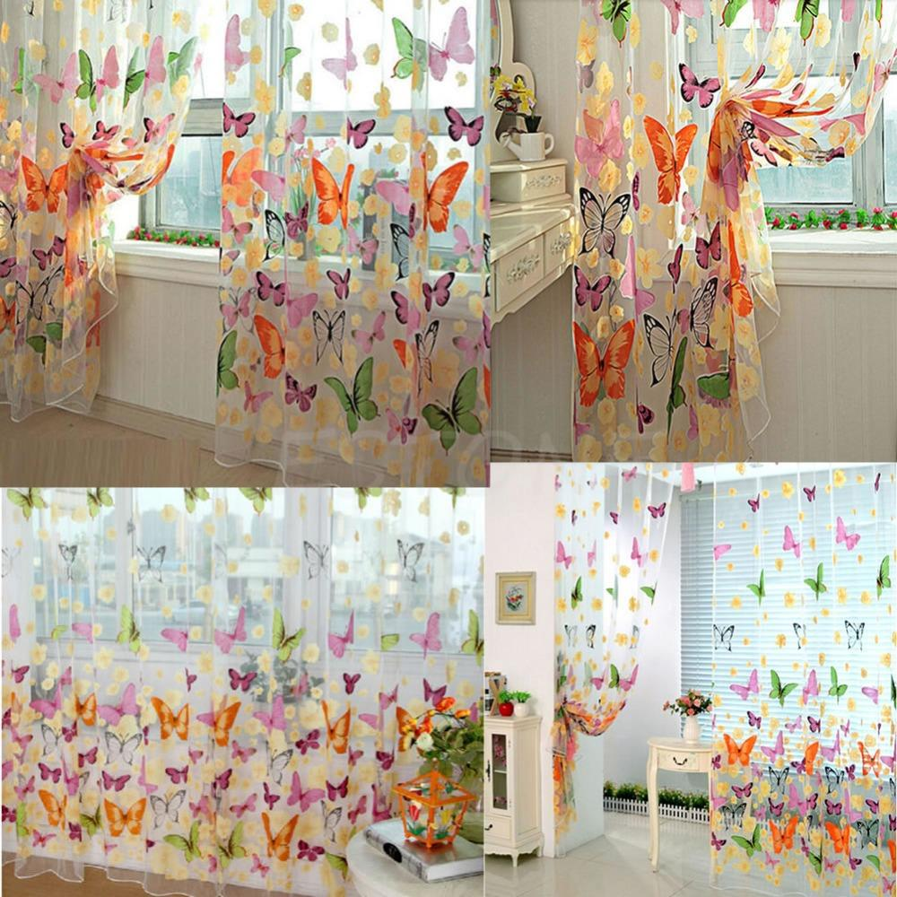 New Butterfly Print Sheer Curtain Panel Window Balcony Tulle Room Divider