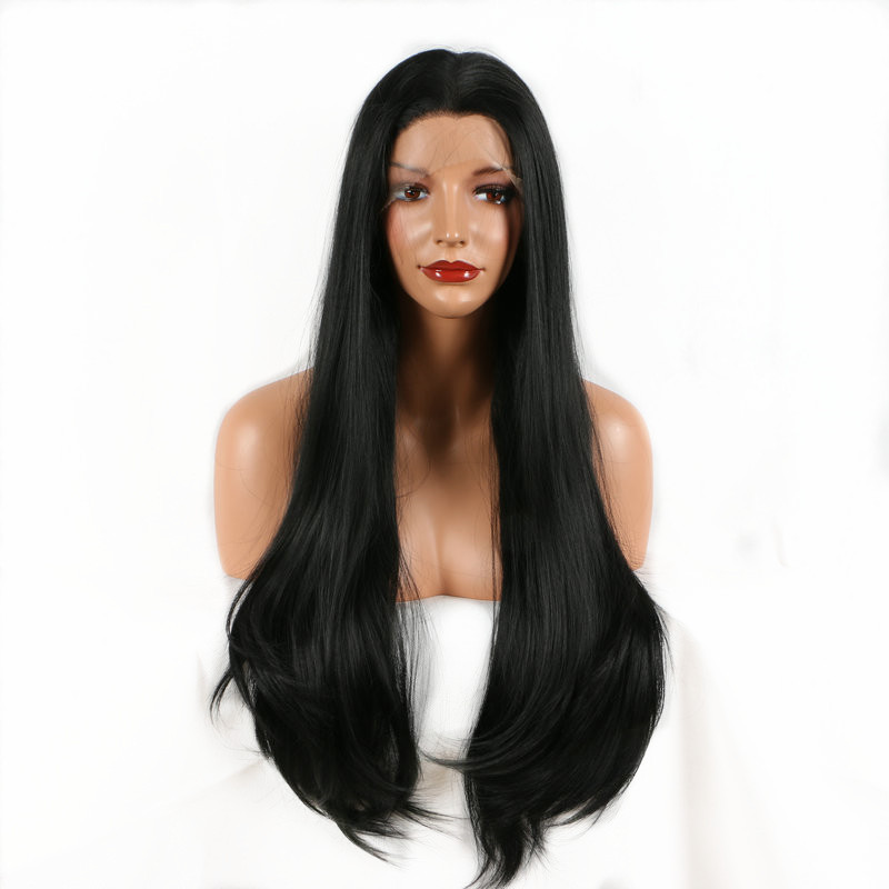 24 Long Wavy Pervado Hair Synthetic Lace Front Hair Wigs High Temperature Fiber Black Color Natural Wave Frontal Lace Pelo