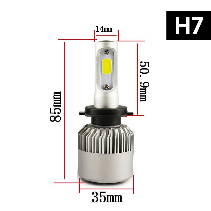 Hot Sale 2 Pcs 12V Headlight H7 Led Kit H11 H4 Led Cob Auto Bulb Led Lamp Fog Car Light Single/Hi-Lo Beam For Toyota Car-Styling