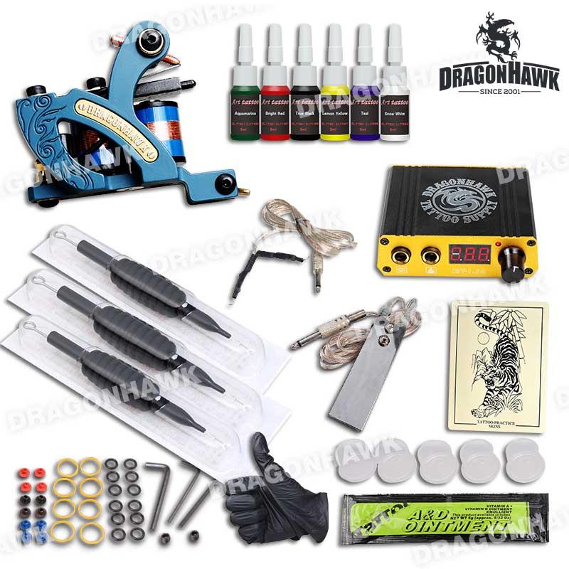 Kit complet de tatouage de coloration Set Machine professionnelle de tatouage Mini Power Needles Grips Supplies 6 couleurs Encres de tatouage