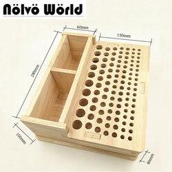 4 size soild natuurlijke hout DIY handgemaakte hand gestikt opbergdoos leer gesneden tassen handtassen cut tool box houder