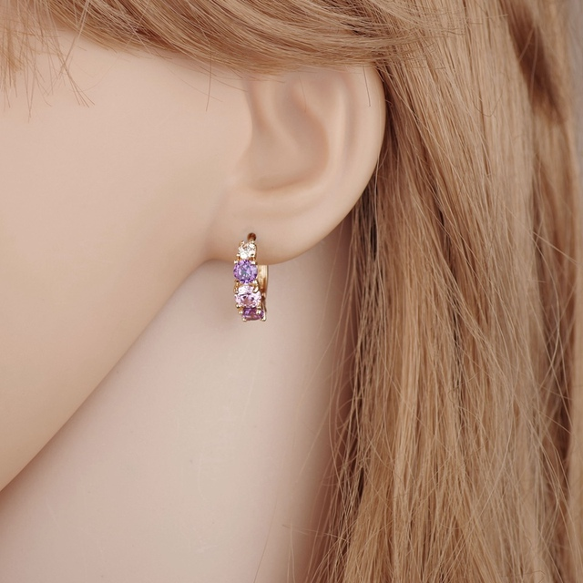 Gold Color Purple Crystal Earring