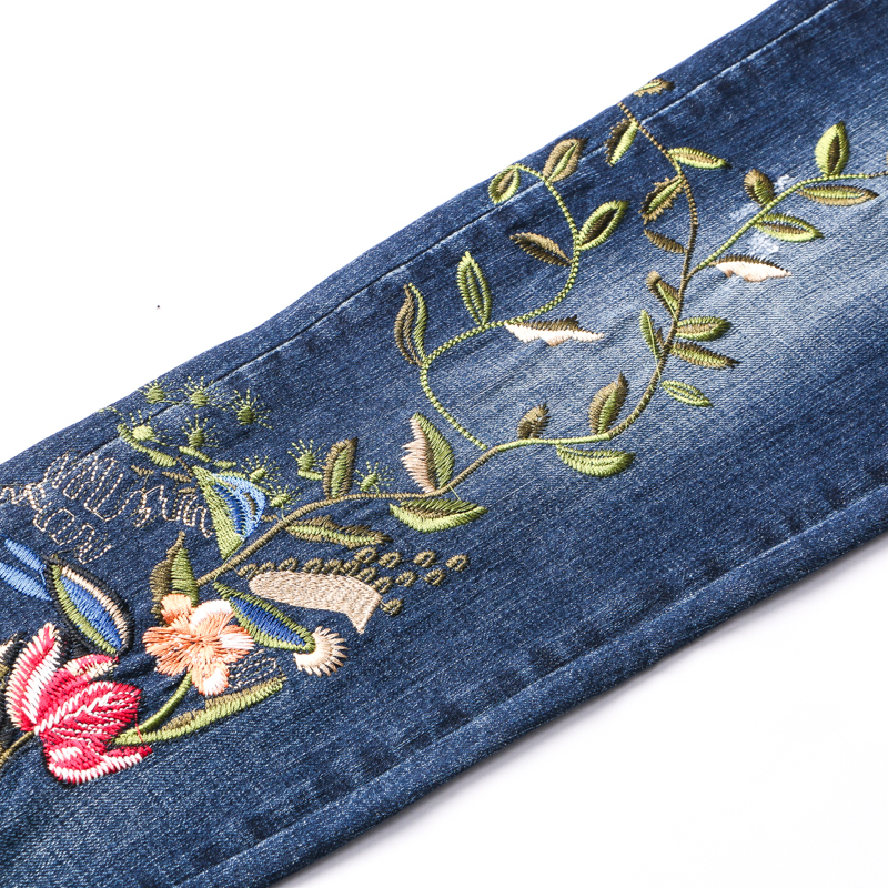 Sokotoo Men's birds flowers embroidery jeans Fashion slim embroidered blue denim pants