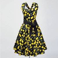 In Stock Retro Vintage Dress 50 S Style 60s Design Red Yellow Cherry Floral Printed Female