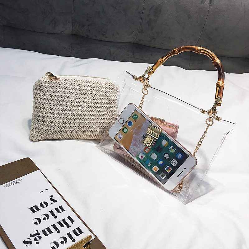 f239e1db4e Transparent Bag For Women 2019 Handbag With Bamboo Handle Summer Small  Chain Crossbody Bags Ladies Straw Beach Bags S1655
