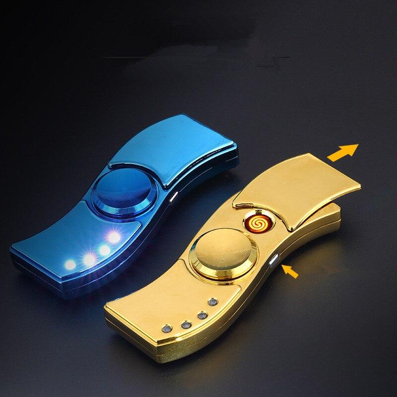 Image 2 - 2017 New USB Hand Spinner Lighter Rechargeable Electronic Lighter Cigarette Turbo Lighter Cigar Plasma Pulse Lighter Finger gyro-in Cigarette Accessories from Home & Garden