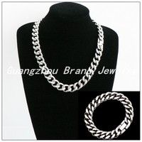 60cm/23cm 15mm Width New Punk Style Silver Stainless Steel Heavy Chain Jewelry Sets Smooth Necklace&Bracelet For Men Boy
