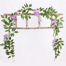 2M Artificial Wisteria Flowers String Silk Fake Rattan Vine Hanging Garland Leaf Ivy Vines DIY Wedding Home Decoration