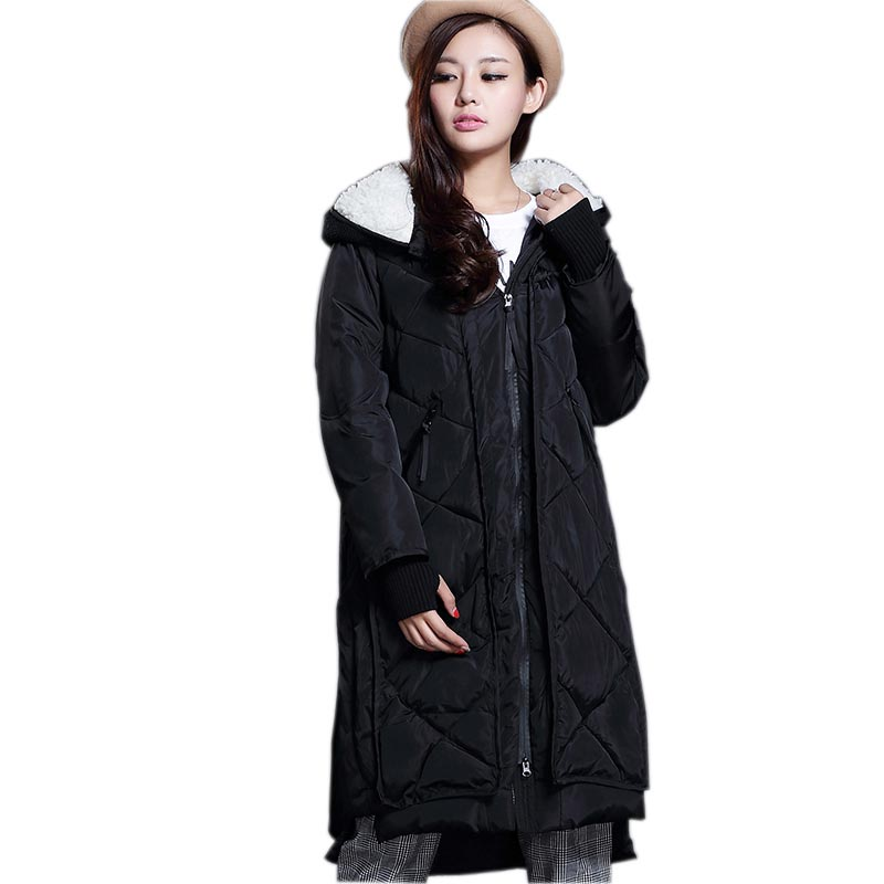 ФОТО 2016 winter new Korean down cotton coat long knitting patchwork wadded jacket women's lamb wool hooded cotton padded parka k0524