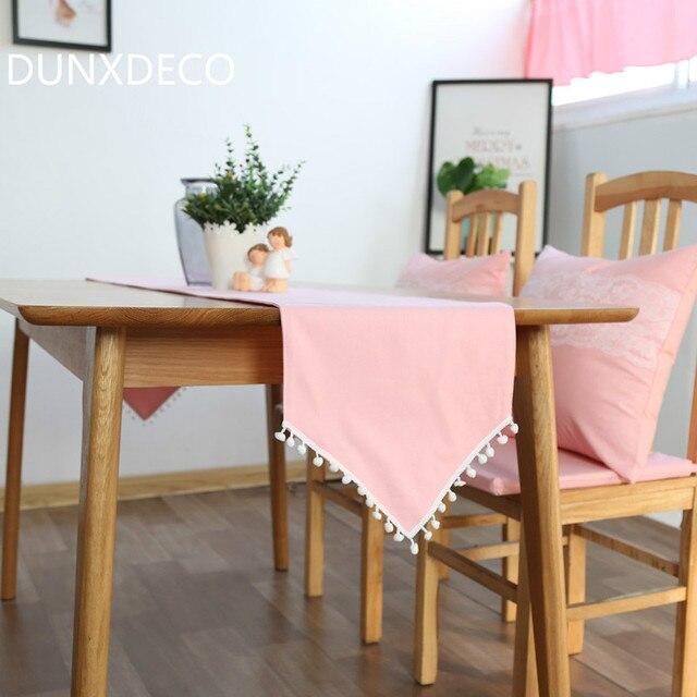 € 13.51 |Funda de mesa de algodón rosa para corredor de mesa, mantel  romántico, Accesorios de escritorio de cocina bonitos y redondos de bola ...