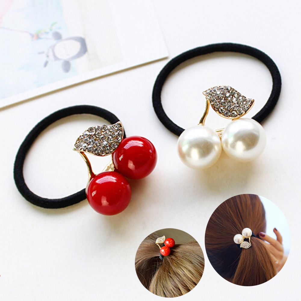 1PC Red White Simulated Pearl Crystal Leaf Cherry Rubber Band Elastic Hair Bands Girls Hair Accessories for Women   Headwear