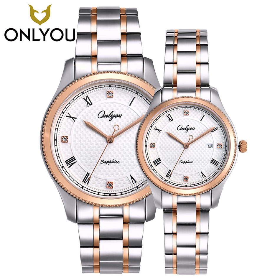 Watches Women Luxury Brand ONLYOU Watch Quartz Lovers Wristwatches Waterproof 50m Casual Fashion Date Display Watch Men Clock onlyou lovers quartz watches luxury men women fashion casual watch 50m waterproof simple ultra thin design wristwatches