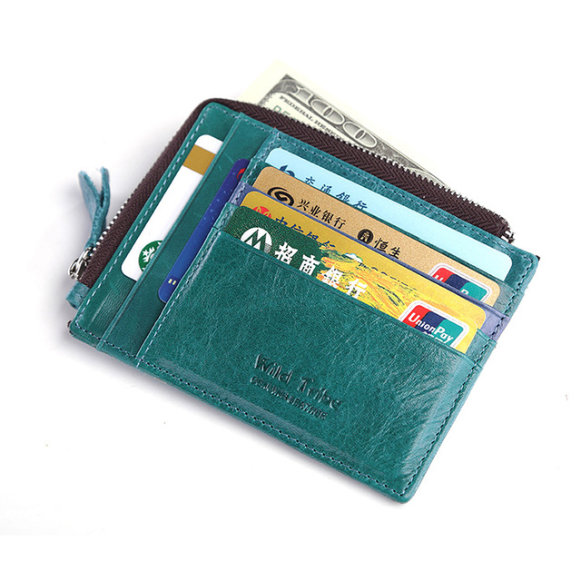 teemzone - Hot Sale EU Fashion Unisex Compact Design Multicolor Genuine Leather Coin Purse Credit Card Holder ID Holder J30