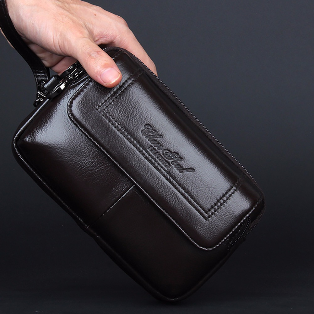 High Quality Genuine Leather Men Cell/Mobile Phone Case Bag Fashion  Clutch Wrist Hand Bags Fanny Belt Purse Pouch Waist Pack