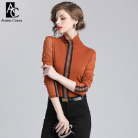 spring autumn woman blouse beading center sleeve turtleneck orange blue black blouse fashion casual elastic plus size blouse