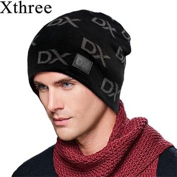 Xthree invierno Skullies gorros hombres sombrero Gorras hombre Gorras  Bonnet sombreros de invierno caliente para hombres mujeres gorros sombreros 07f6d5521fd