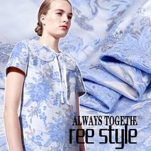 French design blue flower silver edge jacquard yarn-dyed brocade fabric crisp glossy fashion