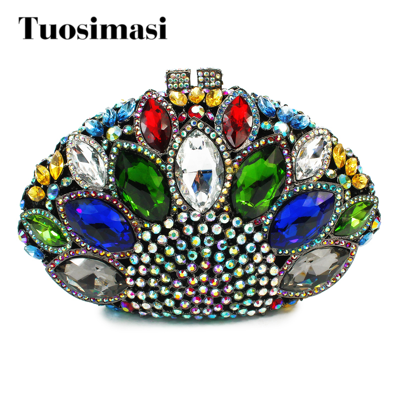 newest fashion crown shape multi color rhinestone clutch bag evening bag women handbag bags (8753A-GB) graceful solid color rhinestone crown shape ring for women