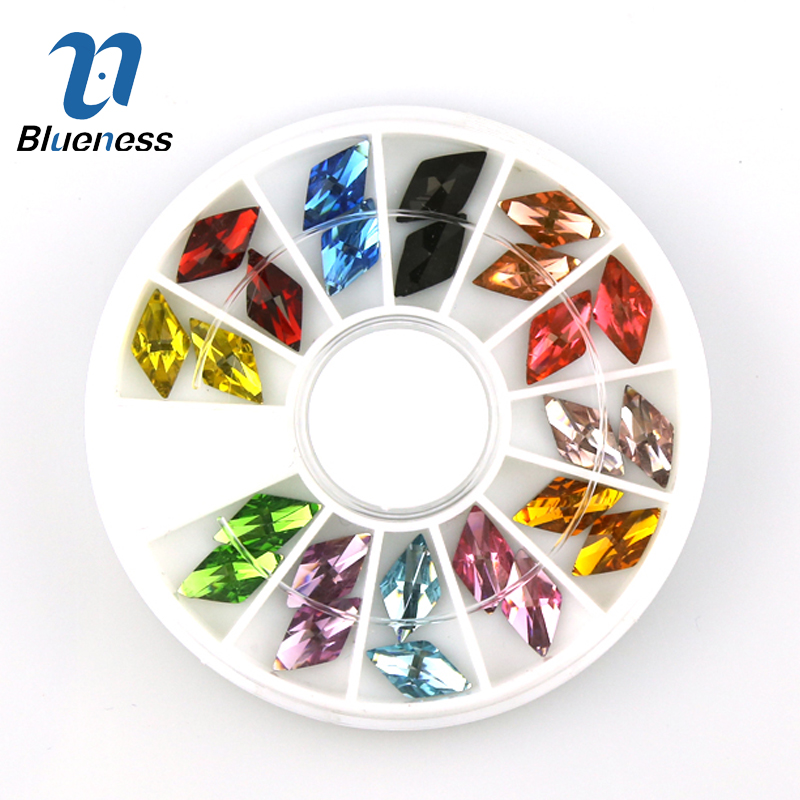 Blueness 1Wheel 3D Charms Nail Art Decorations Jewelry Acrylic Rhombus Diamond Design Glitter Rhinestones For Nails Accessories random color nail rhinestones wheel 2mm acrylic nail art rhinestones decoration for uv gel polish deco diy nail tools