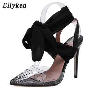 Image 2 - Eilyken New Women high heels Sexy Pumps Stiletto Pointed toe Party Ankle Strappy high heels Red Black Ladies Wedding shoes