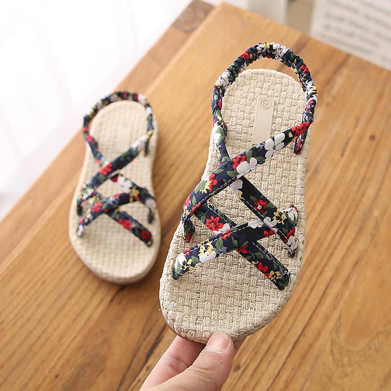 ילדים של נעלי 2019 קיץ סנדלי ילדה רומא צלב פרחוני עניבת נסיכת נעלי בנות סנדלי ילדים חוף נעלי 3 צבעים