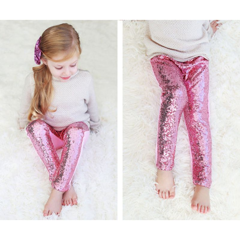 d3788b107001 Little girls personalized red sequin pants Baby Girls Sequin Leggings