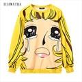 Hiawatha Harajuku Expression Printed Hoodies Autumn Style Women's Loose Hoody Fashion O-neck Sweatshirts Casual Pullovers WY1083
