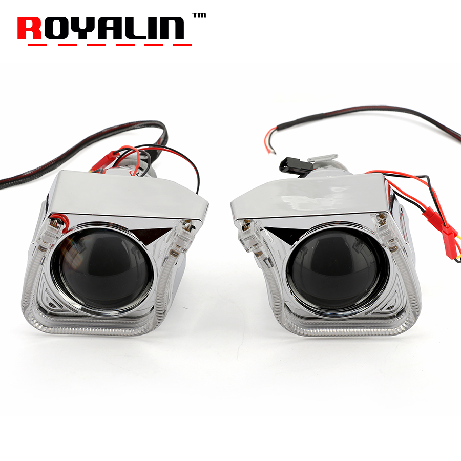 ROYALIN 2.5 Mini Metal Xenon Lens H1 Projector Headlight w/ U Car Styling LED Angel Eyes Shrouds for H4 H7 Auto Lamp Retrofit free shipping iphcar lhd rhd auto driving front lens universal led ring angel eyes light mini projector headlight for h1 h4 h7