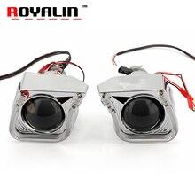 ROYALIN 2 5 Mini Metal Xenon Lens H1 Projector Headlight w U Car Styling LED Angel