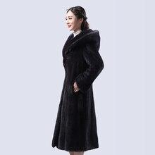 natural real mink coat ,mink fur coat length of 110cm,long mink fur coat,genuine fur coat with a hood