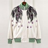 Элитный бренд элегантный дизайн куртка Для женщин зимние высококачественных вышивка пайетками Бисер Бейсбол пиджак Пальто Feminino