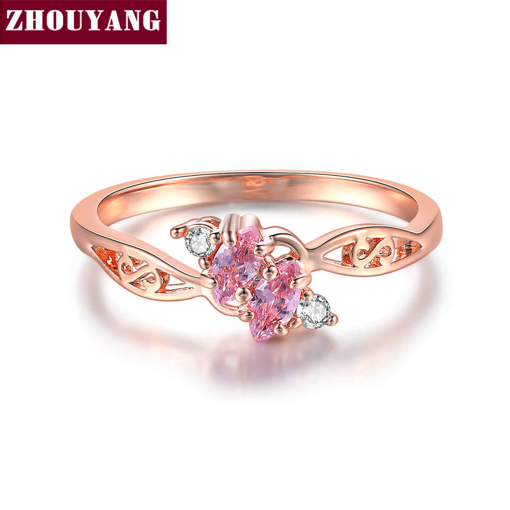 ZHOUYANG Ring For Women Elegant Style 3 Color CZ Crystal Hollow Out Rose Gold Sliver Color Engagement Fashion Jewelry R671 R777|Engagement Rings|   - AliExpress