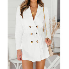 578419946bdd (nave da US) Elegante lace up split delle donne della giacca sportiva del  vestito di Autunno 2018 doppio petto bianco vestito Ufficio signore.