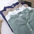 Qualidade Mulheres Blusas Casual Sólidos Algodão Linho Fino Camisa Blusa Mulheres Tops Blusas Plus Size S-XXL 3/4 Manga Blusa Camisas # B33