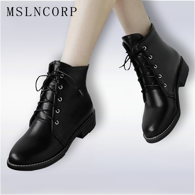 Size 34-43 New Fashion Black Ankle Boots Flats Round Toe Lace-Up Martin Boots PU Leather Woman Cross tied With Warm Plush Shoes стоимость