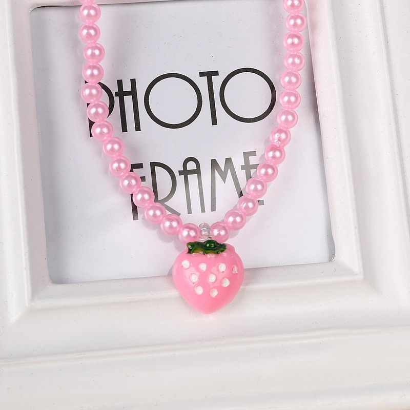 Children Baby Beaded Jewelry Sets Strawberry Necklace Imitation Pearl Bracelet Ring Set Cute Kids Jewelry Accessories