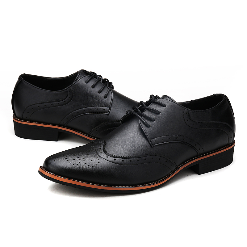 Klywoo New Brogue Oxford Shoes For Men Dress Microfiber Leather Office Formal Zapatos Hombre Mens Oxfords
