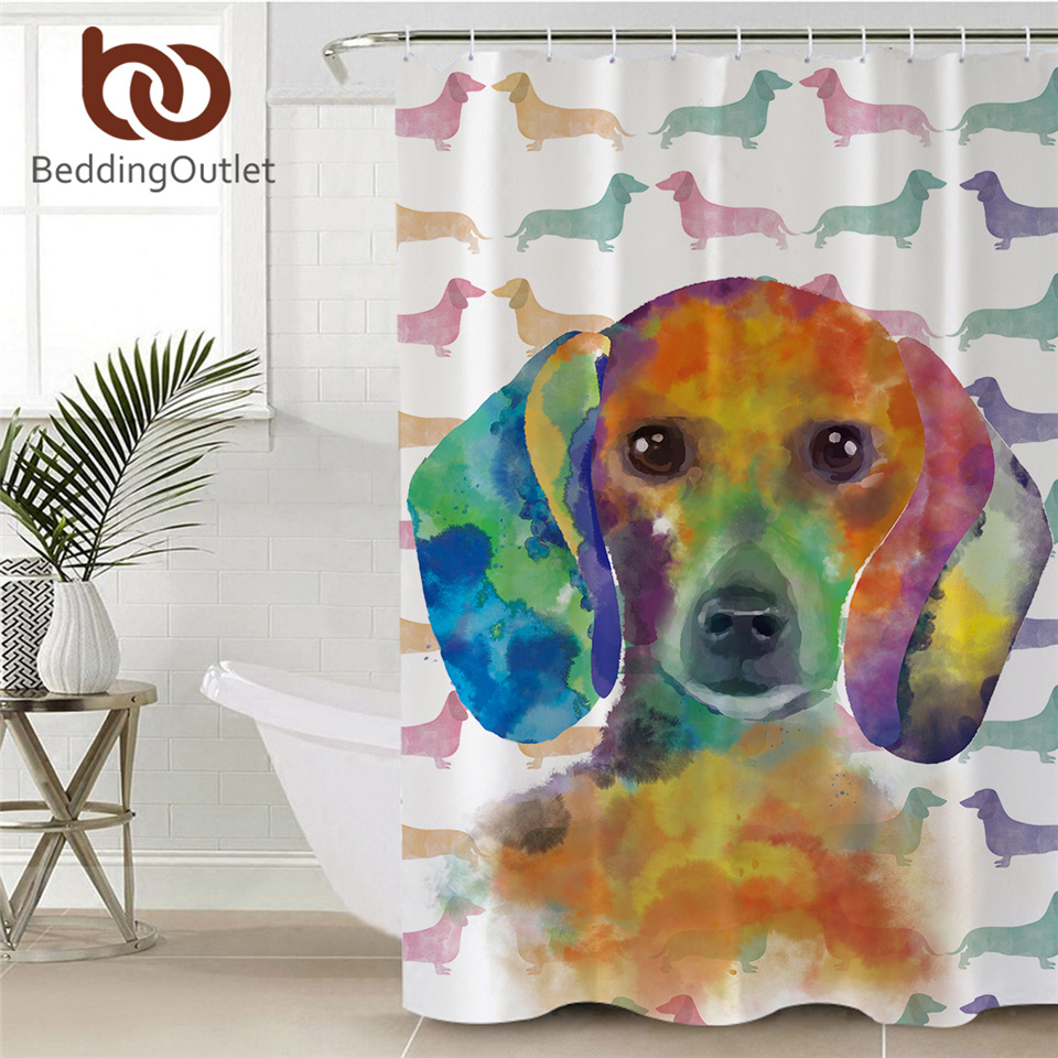 beddingoutlet dachshund shower curtain for adults cartoon watercolor dog waterproof bathroom curtain with hooks rideau douche