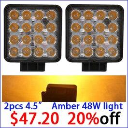 2PCS 48W amber yellow led work light