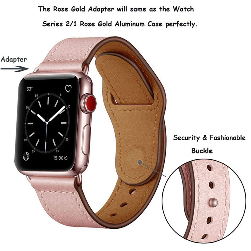 Image 3 - Genuine Leather Loop Strap for Apple Watch 4 40mm 44mm 38mm 42mm High Quality Men Women Watchband Bracelet Band for iWatch 1 2 3-in Watchbands from Watches